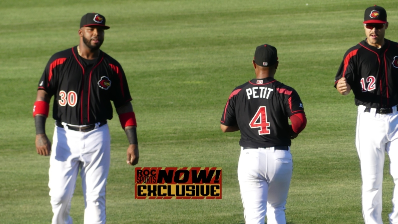 DH Kennys Vargas, 3B Gregorio Petit and 1B Zander Wiel warm up prior to the game - Red Wings vs Lehigh Valley IronPigs, September 1, 2018 - photo by Joe Bradt